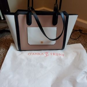 Ivanka Trump Soho Tote Bag Purse Tan White Black